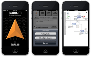 iPhone app Barium Business Navigator: Start, take/pick photo & view process