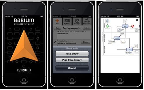 iPhone app Barium Business Navigator: Start, take/pick photo & view process